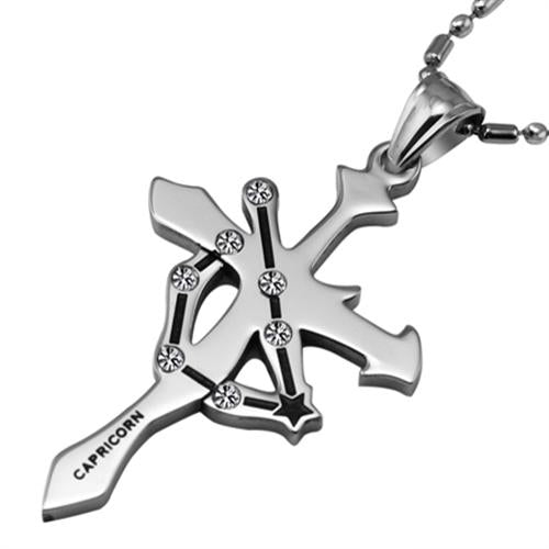 Capricorn Stainless Steel Cross Zodiac Necklace - GearBody