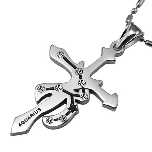 Aquarius Stainless Steel Cross Zodiac Necklace - GearBody