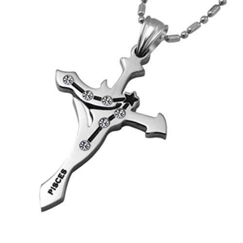 Pisces Stainless Steel Cross Zodiac Necklace - GearBody