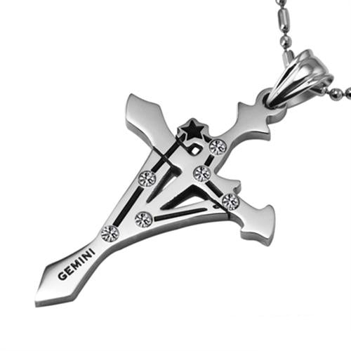 Gemini Stainless Steel Cross Zodiac Necklace - GearBody