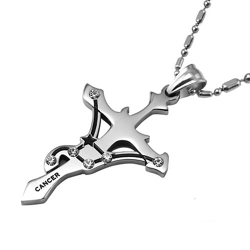 Cancer Stainless Steel Cross Zodiac Necklace - GearBody