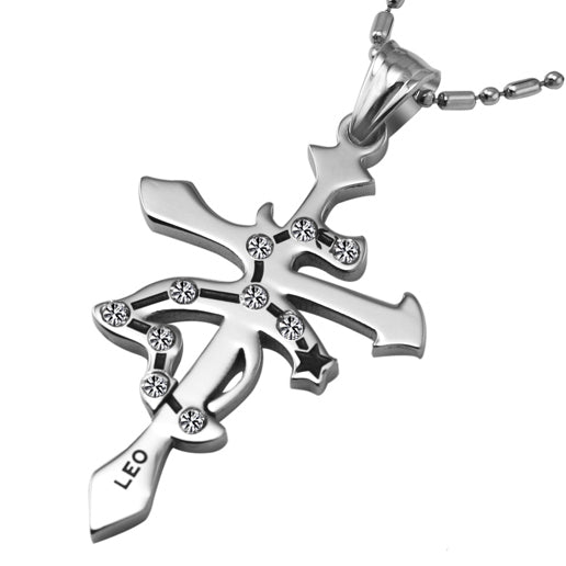 Leo Stainless Steel Cross Zodiac Necklace - GearBody
