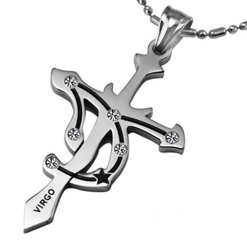 Virgo Stainless Steel Cross Zodiac Necklace - GearBody