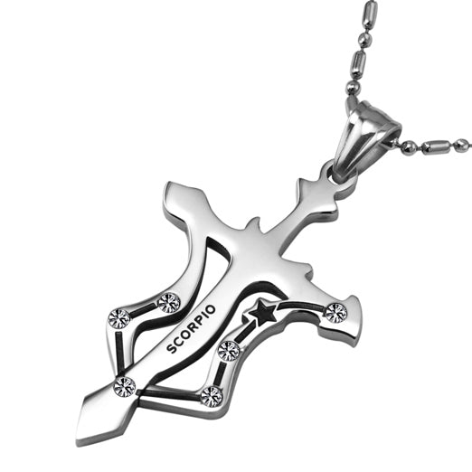 Scorpio Stainless Steel Cross Zodiac Necklace - GearBody