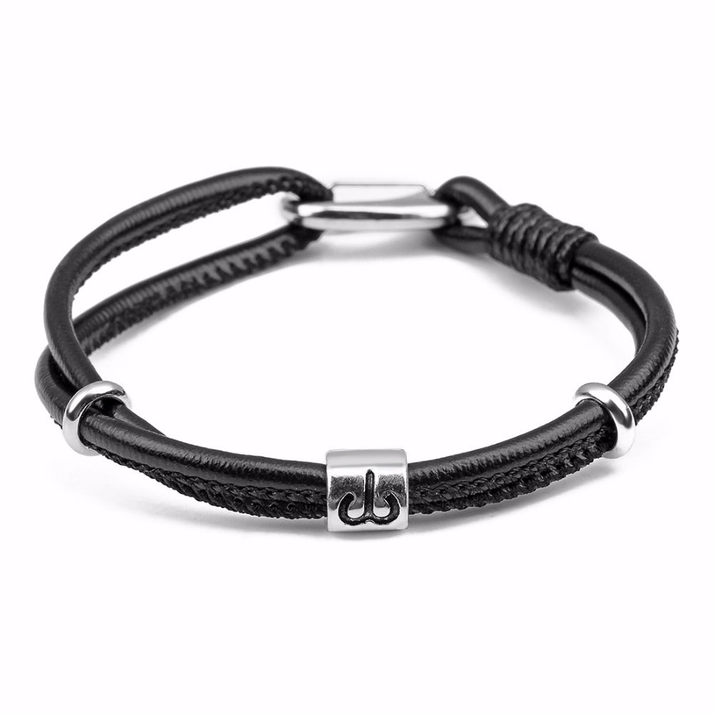 Aries Mens Leather Zodiac Bracelet - GearBody