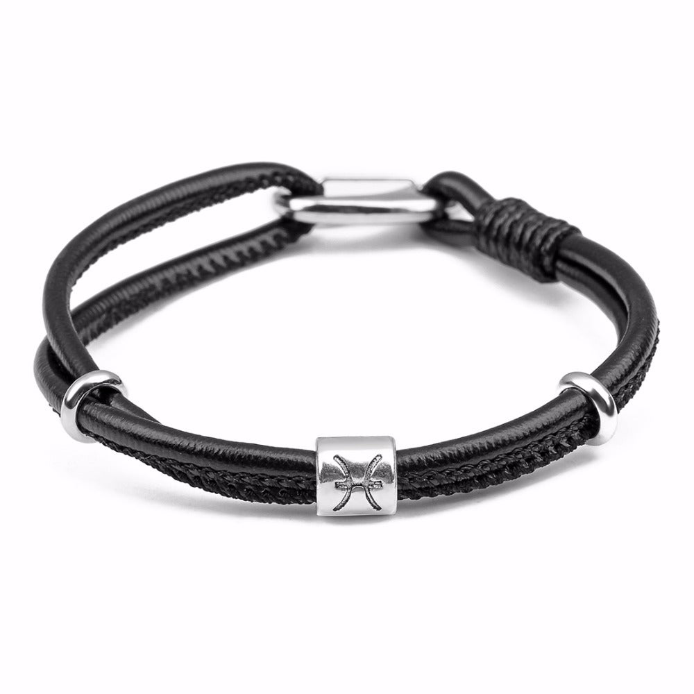 Pisces Mens Leather Zodiac Bracelet - GearBody