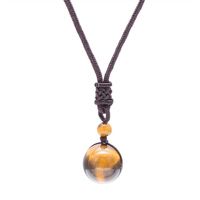"""Yellow Tiger Eye"" Obsidian Pendant Necklace - GearBody"