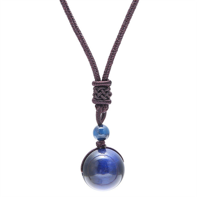 """Blue Tiger Eye"" Obsidian Pendant Necklace - GearBody"
