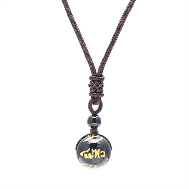 """Golden 6 Words"" Obsidian Pendant Necklace - GearBody"