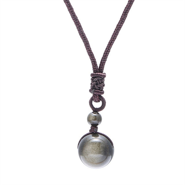 Handmade Natural Obsidian Crystal Pendant Necklace - GearBody