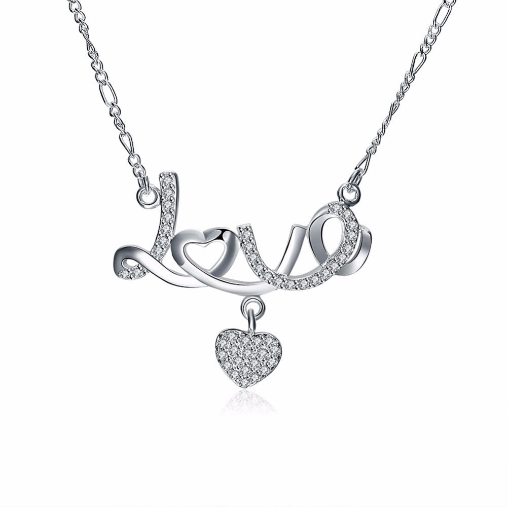 Sterling Silver Love Heart Necklace - GearBody