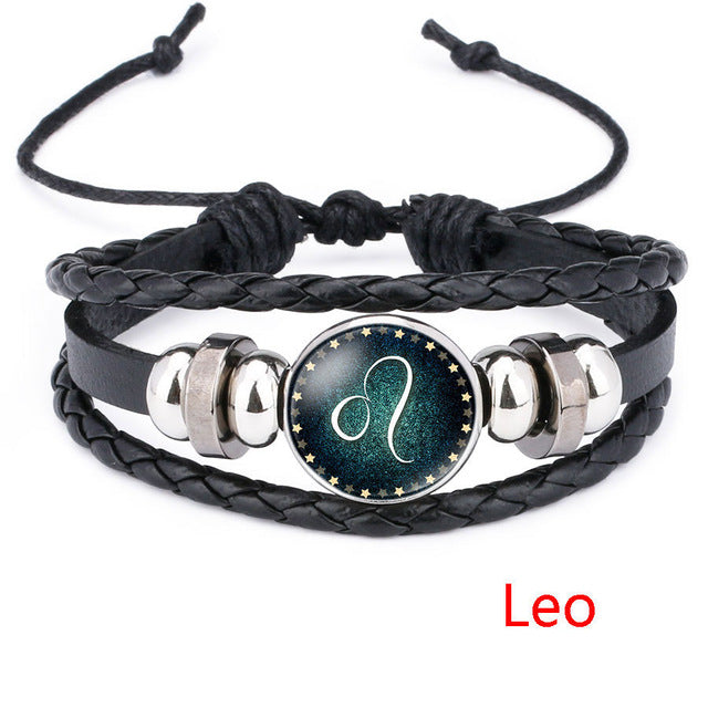Leo Beaded Black Leather Zodiac Bracelet - GearBody
