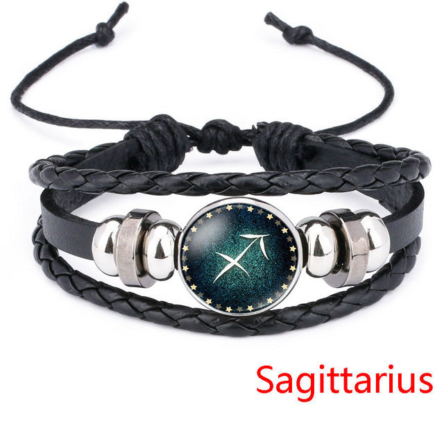 Sagittarius Beaded Black Leather Zodiac Bracelet - GearBody
