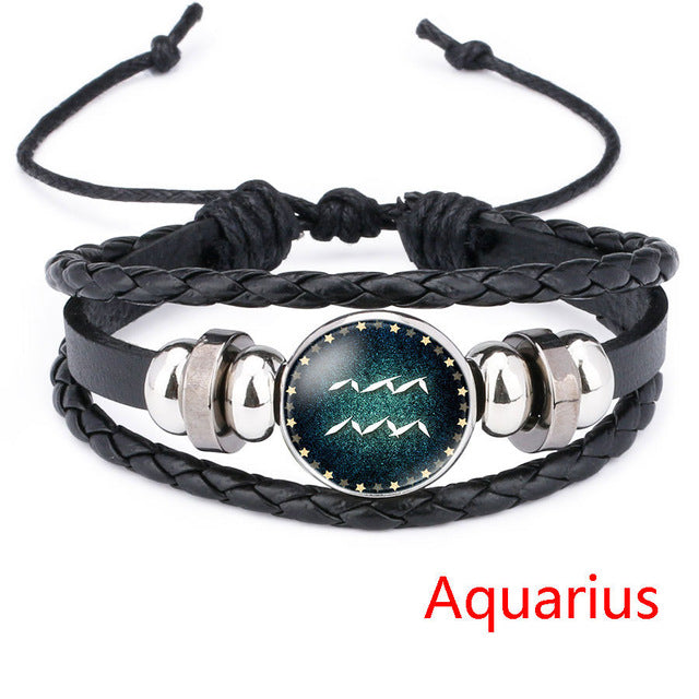 Aquarius Beaded Black Leather Zodiac Bracelet - GearBody