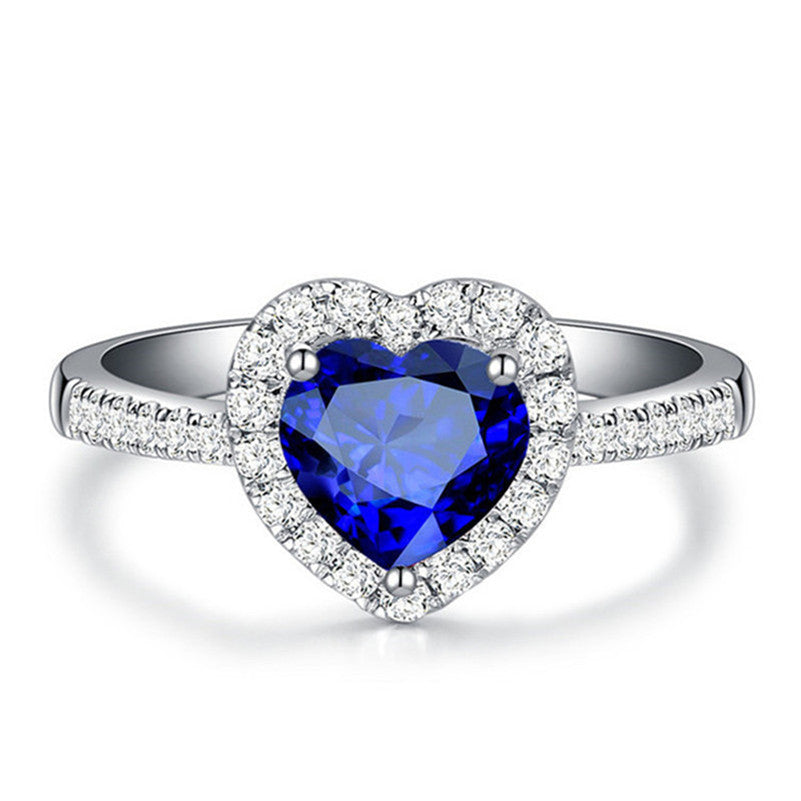 September Sapphire Heart Sterling Silver Ring - GearBody