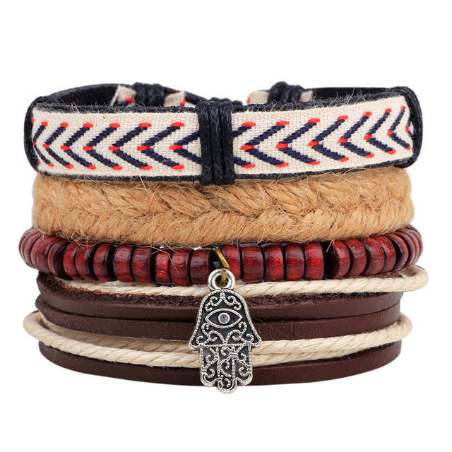 Hamsa Hand Beaded Leather Multilayered Bracelet - GearBody