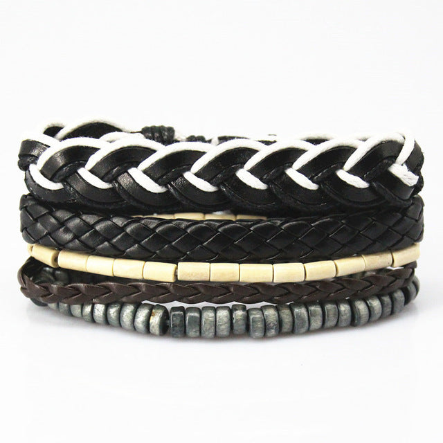 Black White Multilayered Leather Bracelet - GearBody
