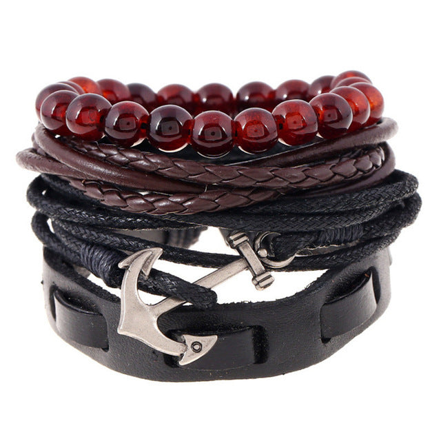 Dark Red Beaded Leather Multilayered Anchor Bracelet - GearBody