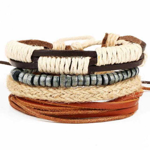 Fine Rope Braided Leather Multilayered Bracelet - GearBody