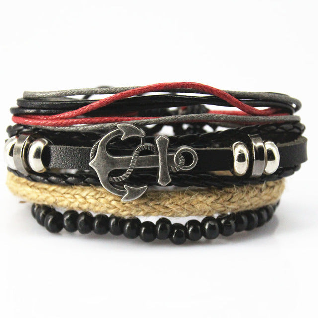 Bead and Braid Leather Anchor Multilayered Bracelet - GearBody