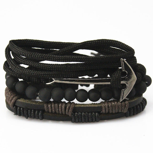 Braided Black Leather Anchor Multilayered Bracelet - GearBody