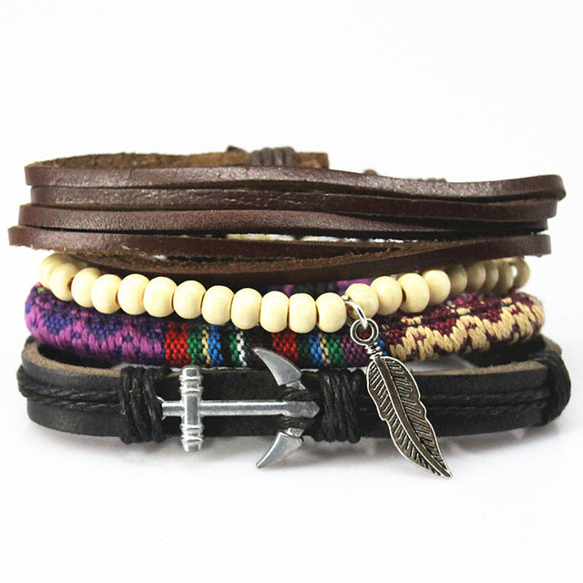 Braided Leather Feather Multilayered Bracelet - GearBody