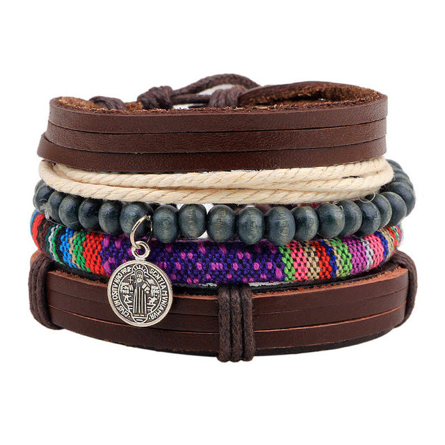 Braided Leather Charm Multilayered Bracelet - GearBody