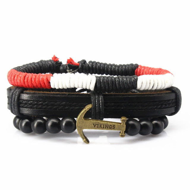 Braided Leather Anchor Multilayered Bracelet - GearBody