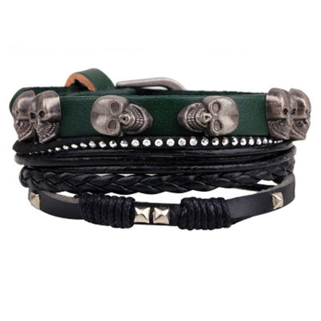 Braided Leather Skull Multilayered Bracelet - GearBody