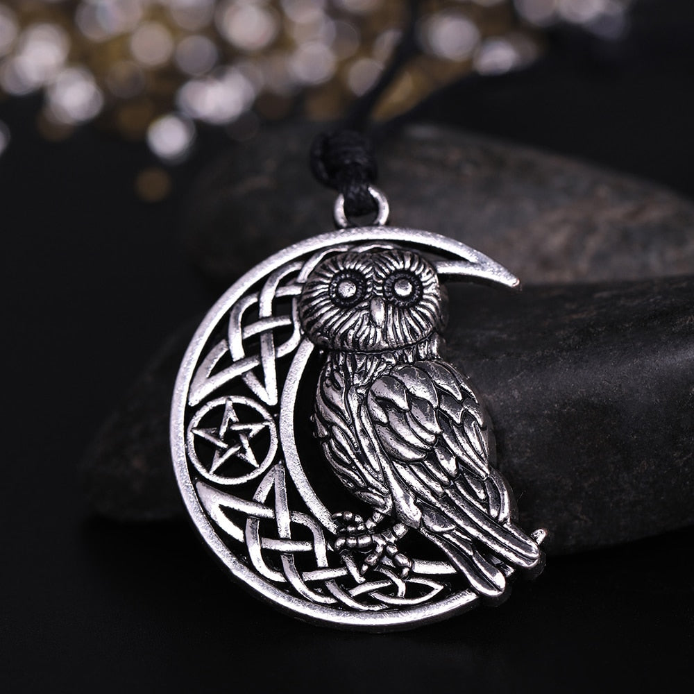 Owl Crescent Moon Wicca Pendant Necklace - GearBody