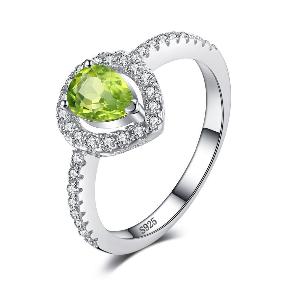 August Peridot Pear 925 Sterling Silver  Ring - GearBody
