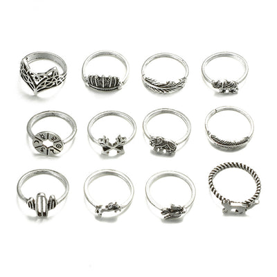 Antique Bohemian Rings 12pcs/set - GearBody