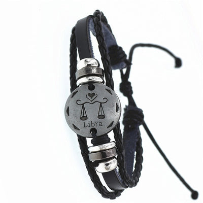 Braided Monochrome Zodiac Leather Bracelet - GearBody