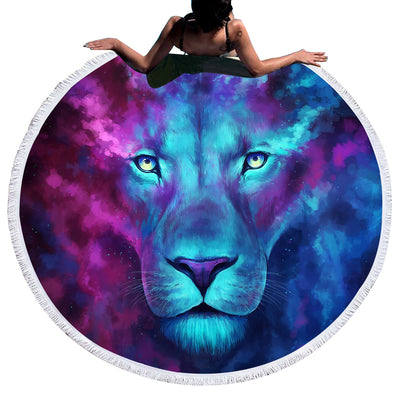Large Galaxy Lion Round Beach Towel - GearBody