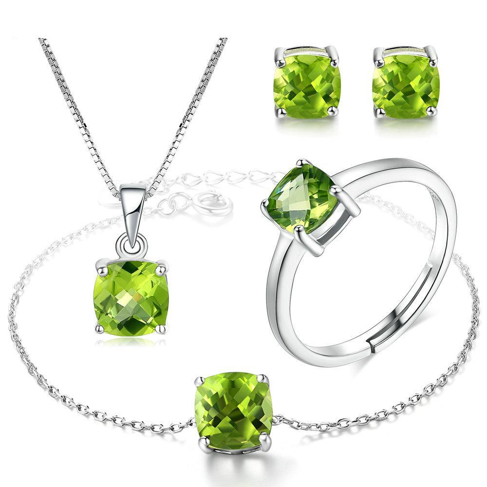 August Peridot Bracelet Earrings Necklace Ring Set - GearBody