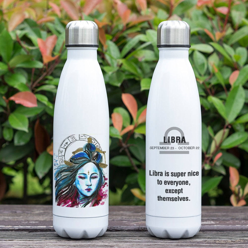 Libra Zodiac Printed Vacuum Thermos Bottle - GearBody