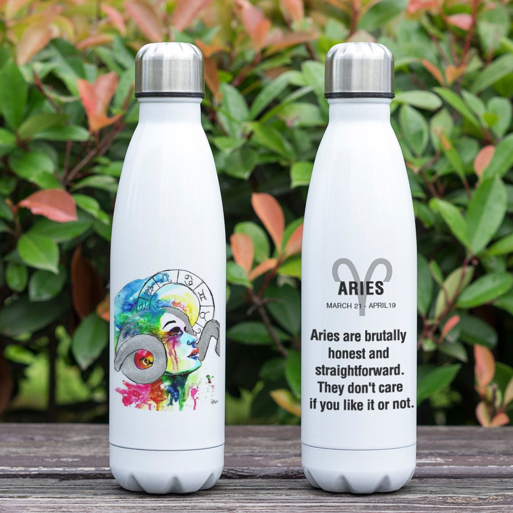 Aries Zodiac Printed Vacuum Thermos Bottle - GearBody