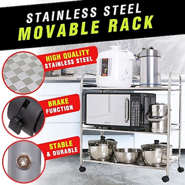 Stainless Steel Movable Rack Microwave Condiments Kitchen Shelf Simple Modern Organizer