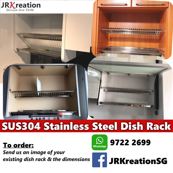 SUS304 Rust-Proof Stainless Steel Dish Rack for Kitchen Cabinet