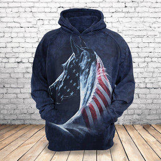 #022 Horse USA Flag 3d full printed Hoodie and T-Shirt