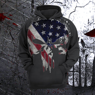 #A.014-Punisher US Flag 3D T-shirt-Hoodie