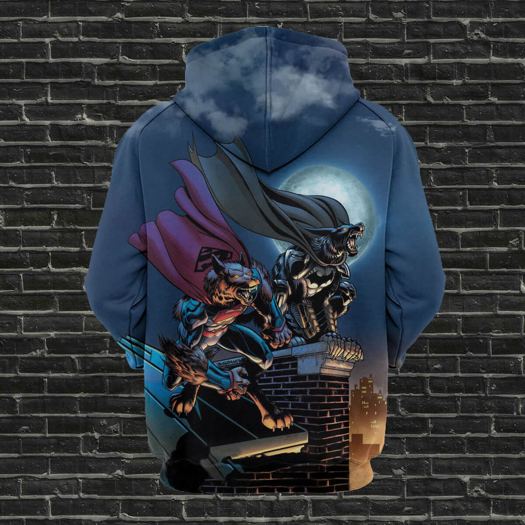 #B.018 - Batman vs Superman Wolf  3D T-shirt-Hoodie