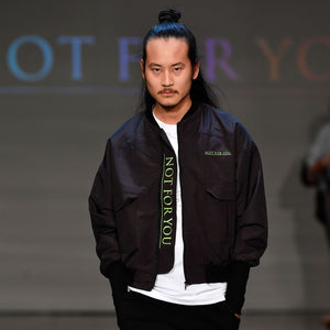 Black Bomber Jacket with Green Embroidery