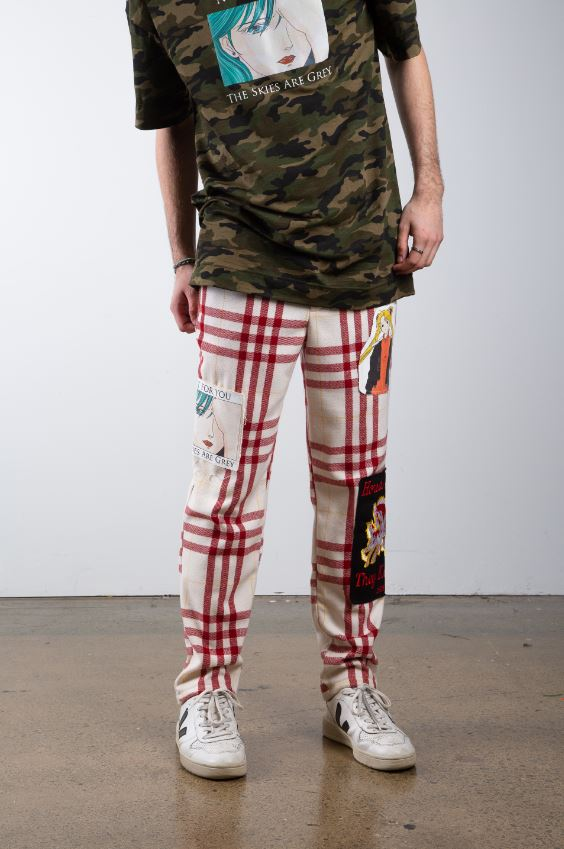 Patched Plaid Pants