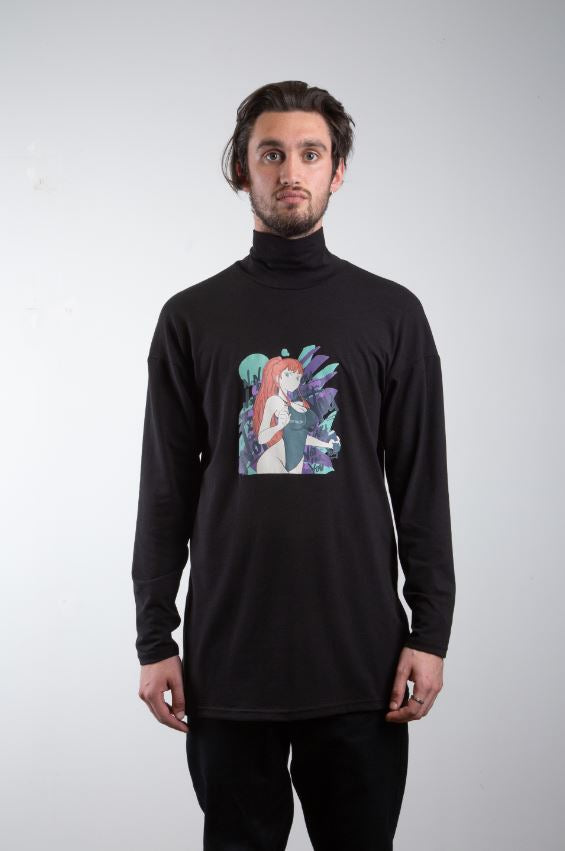 Anime Print Turtle Neck