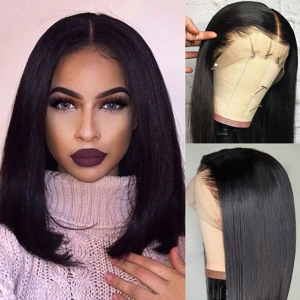 93d029c22a6 Pre Plucked 13x6 Bob Wigs Brazilian Straight Human Hair Lace Front ...