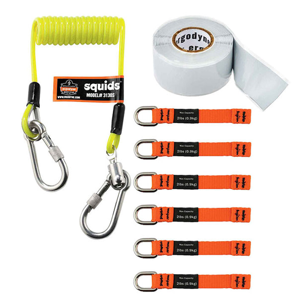 Ergodyne Squids 3025 Accessory Pack for Retractable Lanyards Pack of 3 Stainless Steel Carabiners