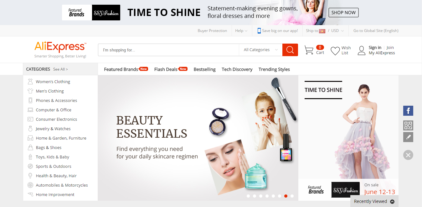 AliExpress is a marketplace where Chinese companies offer products for international customers.