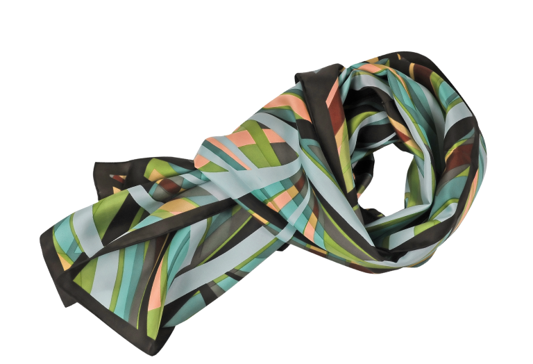 dark abstract-printed silk scarf