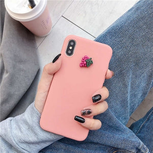 3D cute fruit silicone case on for huawei p40 p30 p20 p10 p9 p8 pro lite plus 2016 2017 candy color soft back cover funda coque